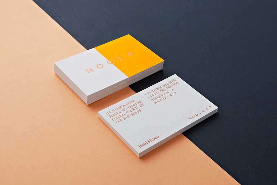 Copper foil business card design for swimwear brand Hoola by Two Times Elliott