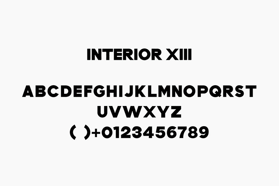 Custom, bold, sans-serif typography for Interior XIII designed by Anagrama
