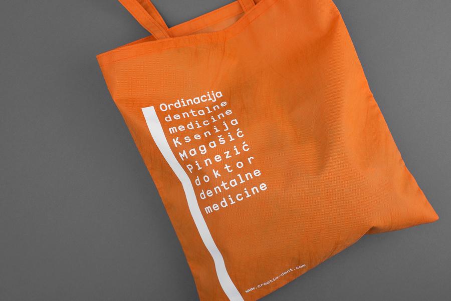 Brand identity and branded tote bag designed by Studio8585 for Croatian dental practice run by Dr. Ksenija Magašić Pinezić