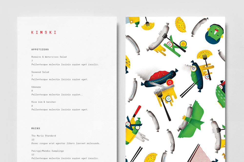 Brand identity, illustration and menu by New York graphic design studio Franklyn for Chicago's Korean Polish street food restaurant Kimski