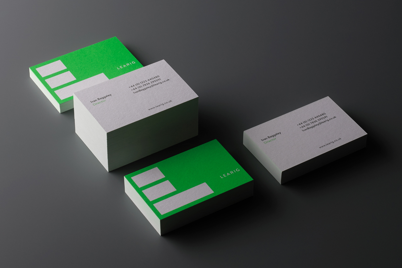 Brand identity and business cards for commercial and residential property developer Learig designed by The District, United Kingdom