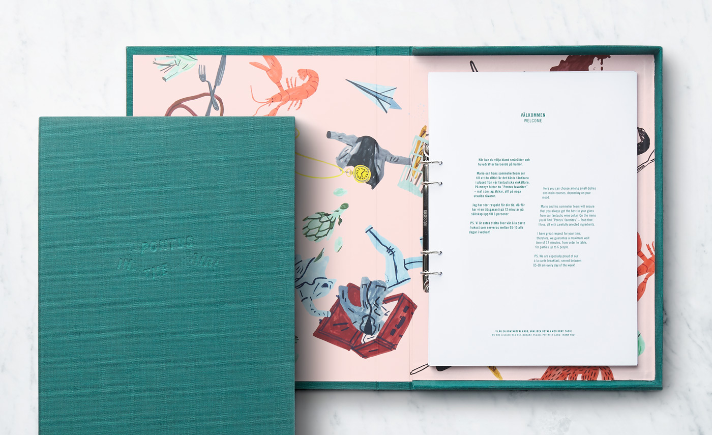 Menu Design – Pontus In The Air by Bold, Sweden