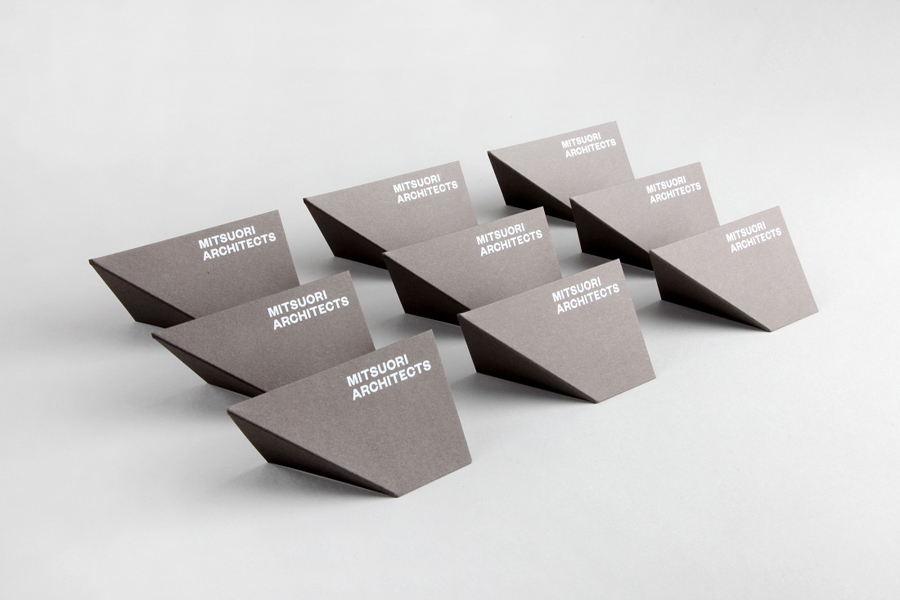 Business cards with crease and white ink detail for Mitsuori Architects designed by Hunt & Co.