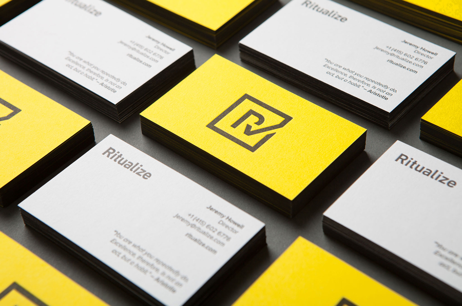 Duplex business cards for Ritualize designed by Shorthand Studio