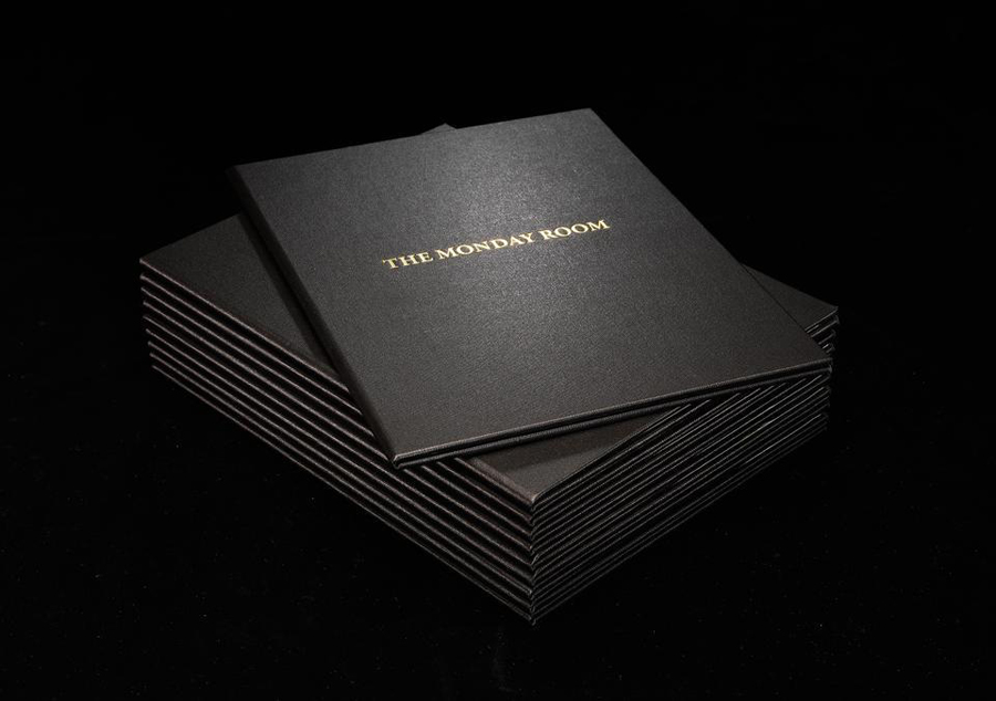 Leather bound menu with gold foil detail for Christchurch cafe and wine bar The Monday Room by Strategy
