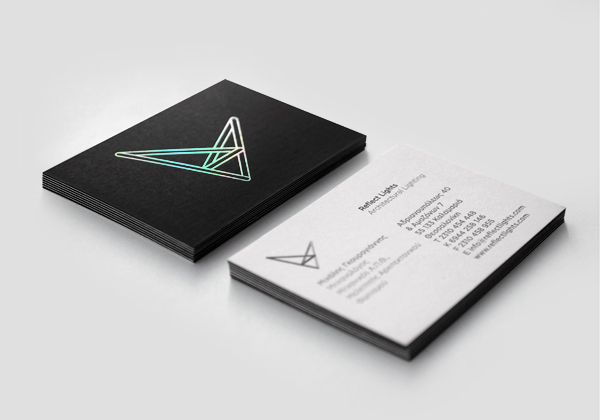 logo and business card with holographic foil detail